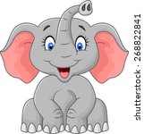 cute elephant cartoon sitting | Shutterstock .eps vector #268822841
