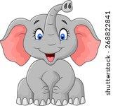 Stock vector cute elephant cartoon sitting 268822841