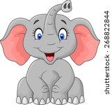 Cute Elephant Cartoon Sitting