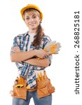 Small photo of beautiful female construction worker on photo with agitation appeal Ready to work