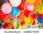 colorful balloons floating on... | Shutterstock . vector #268827545
