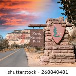 entrance of zion np  usa. | Shutterstock . vector #268840481