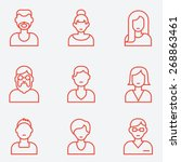 people icons  thin line style ... | Shutterstock .eps vector #268863461