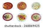 food set .  italian traditional ... | Shutterstock . vector #268869425