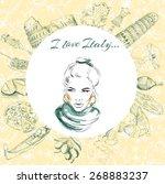postcard  italy  landmarks   Shutterstock .eps vector #268883237