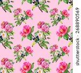 garden floral seamless pattern... | Shutterstock . vector #268890569