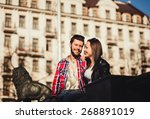 young happy couple smiling... | Shutterstock . vector #268891019