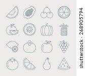fruit line icon set   Shutterstock .eps vector #268905794