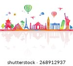 travel  and tourism banner with ... | Shutterstock .eps vector #268912937