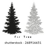 christmas spruce fir tree black ... | Shutterstock .eps vector #268916651