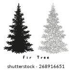 christmas spruce fir tree black ... | Shutterstock .eps vector #268916651