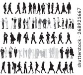 collection of people silhouettes | Shutterstock .eps vector #268921667