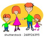 family of four on vacation. | Shutterstock .eps vector #268926395