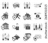 insurance hand and shield black ... | Shutterstock .eps vector #268931015