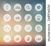 16 business white round icons...