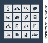 16 business square flat icons...