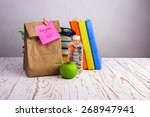 paper  lunch bag  with apple... | Shutterstock . vector #268947941