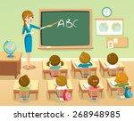 teacher by blackboard with... | Shutterstock .eps vector #268948985