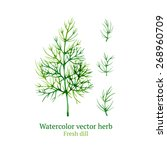 watercolor vector dill | Shutterstock .eps vector #268960709