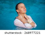 fashion portrait of beautiful... | Shutterstock . vector #268977221