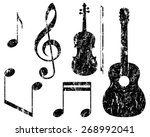 grunge music elements  guitar ... | Shutterstock .eps vector #268992041