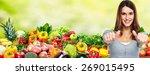happy healthy woman losing... | Shutterstock . vector #269015495