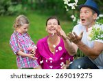 girl with father and granny in... | Shutterstock . vector #269019275
