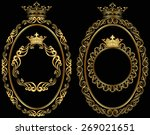 set of golden borders with crown | Shutterstock .eps vector #269021651