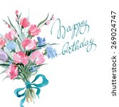 birthday card with watercolor ... | Shutterstock .eps vector #269024747
