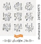 vector set of hand drawn... | Shutterstock .eps vector #269024975
