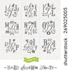vector set of hand drawn... | Shutterstock .eps vector #269025005