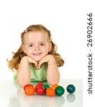 Smiling girl with her easter eggs - isolated - stock photo
