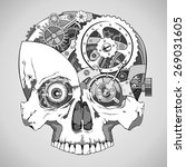 human skull with clockwork... | Shutterstock .eps vector #269031605