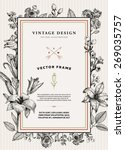 vintage floral card. frame with ... | Shutterstock .eps vector #269035757