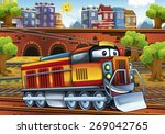 cartoon electric train   train... | Shutterstock . vector #269042765