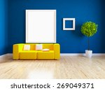 3d Blue Room With Orange...