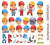 set of cartoon worker character ... | Shutterstock .eps vector #269053421