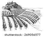 Vineyard Landscape Ink Pen...