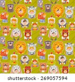 stickers children in animal... | Shutterstock .eps vector #269057594