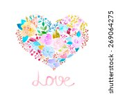 watercolor flower heart | Shutterstock .eps vector #269064275