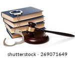 gavel  books and handcuffs on... | Shutterstock . vector #269071649