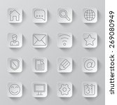 set of 16 long shadow icons for ...