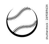 baseball black and white vector ... | Shutterstock .eps vector #269089634