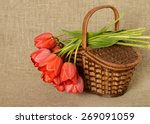 Bouquet Of Red Tulips And The...