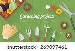 home gardening banner with... | Shutterstock .eps vector #269097461