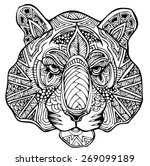 zentangle tiger vector... | Shutterstock .eps vector #269099189