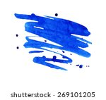 vivid blue watercolor or ink... | Shutterstock . vector #269101205