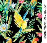 parrots and exotic flowers.... | Shutterstock . vector #269109359