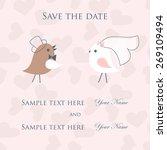 wedding card with cute birds... | Shutterstock .eps vector #269109494