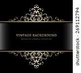 Vintage gold decoration on black background, divider, header, ornamental vector frame